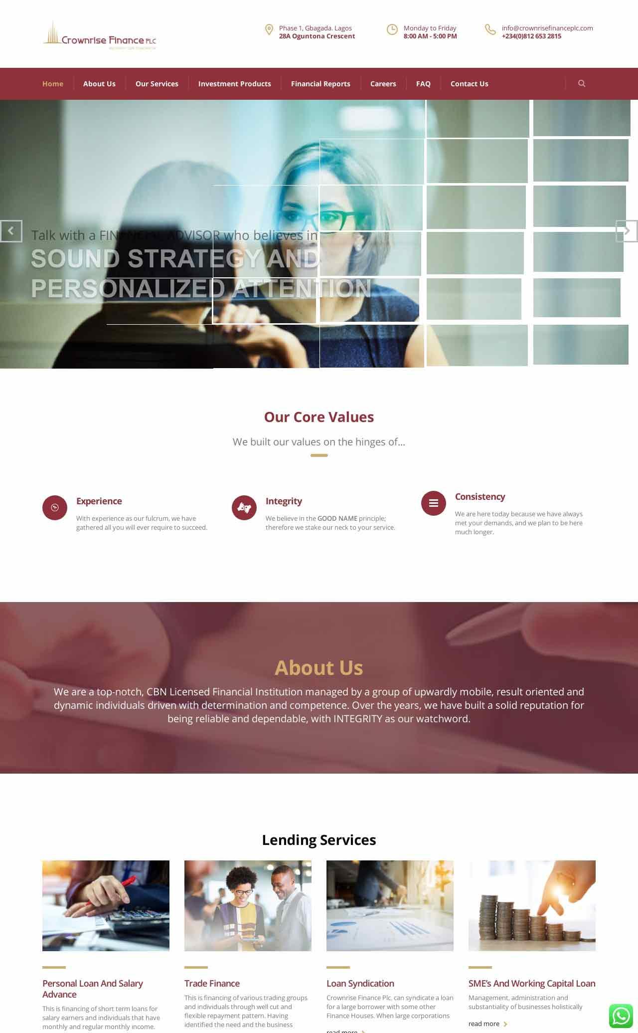Bespoke Website Design for Crownrise Finance Plc